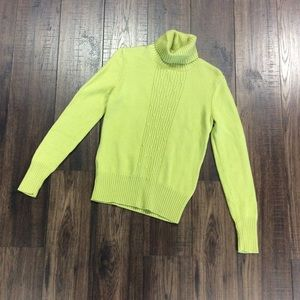 Ann Taylor 100% Merino Wool Lime Green Turtleneck